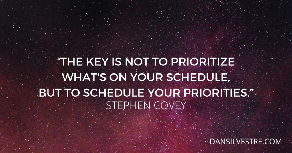 Stephen Covey time management quote