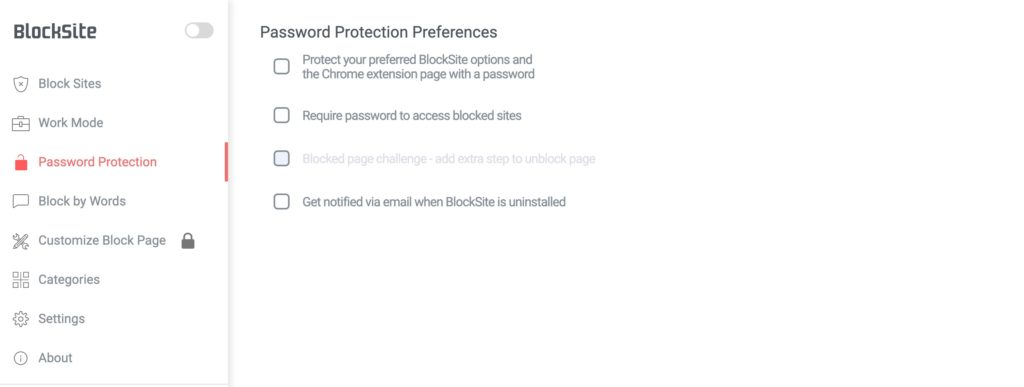blocksite password protection