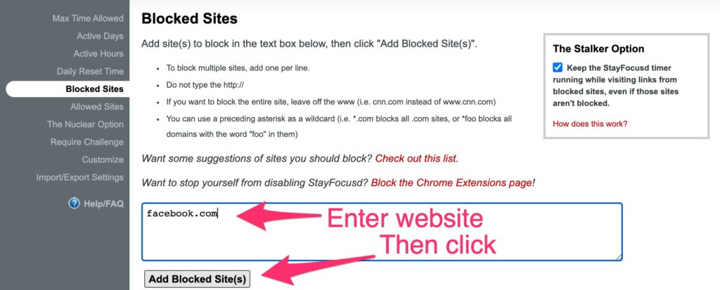 StayFocusd block websites on chrome
